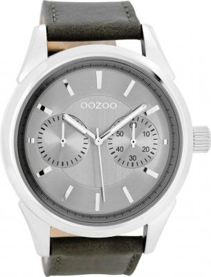 Oozoo Herrenuhr mit Lederband 49 MM Silbergrau/Grau C8591