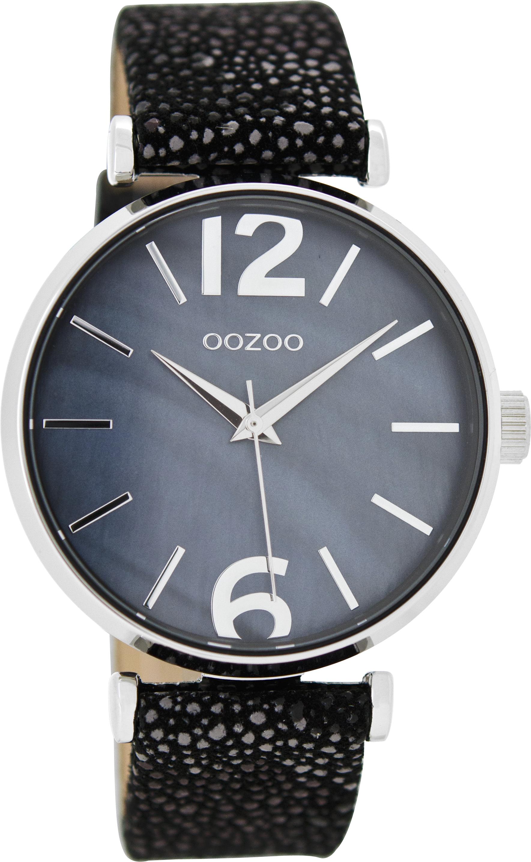 Oozoo Blau C8919 Lederband Damenuhr 38 Mit Mm Schwarz 6ybgf7IYvm