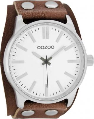 Oozoo Herrenuhr mit Unterleg Lederband 49 MM Weiß / Braun C8281 - B-Ware