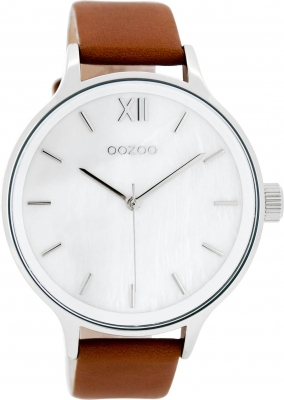 Oozoo Damenuhr mit Lederband 45 MM Perlmutt Weiß / Rotbraun C8054